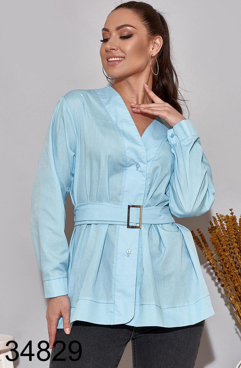 Стильная женская рубашка с поясом р.50-52,54-56