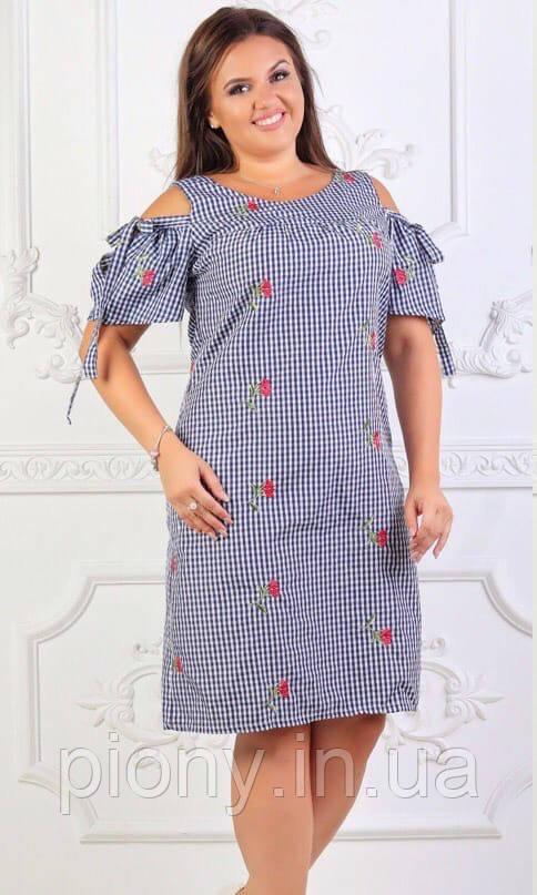 Женское летнее платье принт Батал