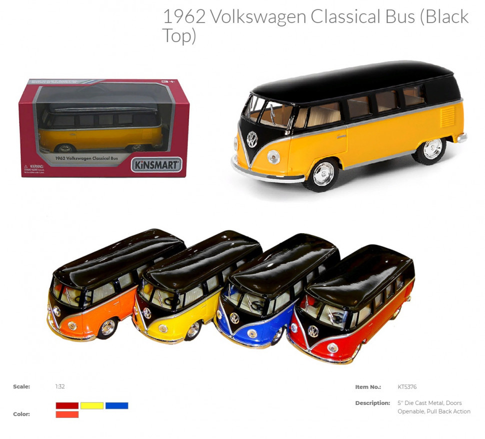 Модель автобус 5'' KT5376W VOLKSWAGEN CLASSICAL BUS