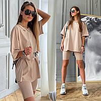 Костюм женский модный летний футболка оверсайз с поясом и велосипедки Dld1701, фото 1