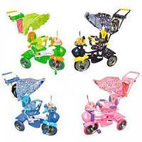 Детский велосипед-коляска трехколесный BC-15M-1 корзина спереди и сзади музыкальная игрушка на руле 4 цвета