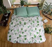 Комплект постельного белья размер ПОЛУТОРНЫЙ материал - бязь зелёный с белым кактусы