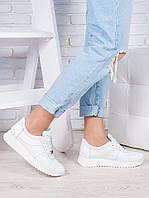 Кроссовки кожаные белые Лола