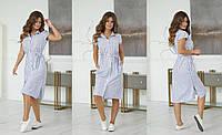 Стильне лляне плаття - сорочка, з кишенями і пояском (42-48)