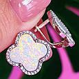 Серебряные серьги Клевер с опалом - Брендовые серьги клевер родированное серебро, фото 4
