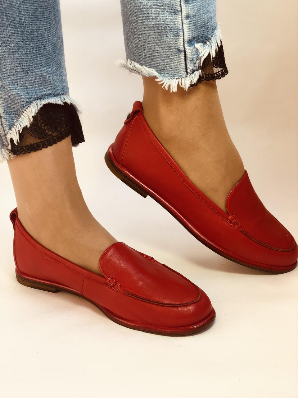 Комфорт! Женские туфли -мокасины из натуральной кожи.Красый и бежевый 35-40.Vellena