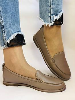 Molka. Женские туфли-мокасины из натуральной кожи.Vison. Размер 35, 36, 37,38, 38, Vellena