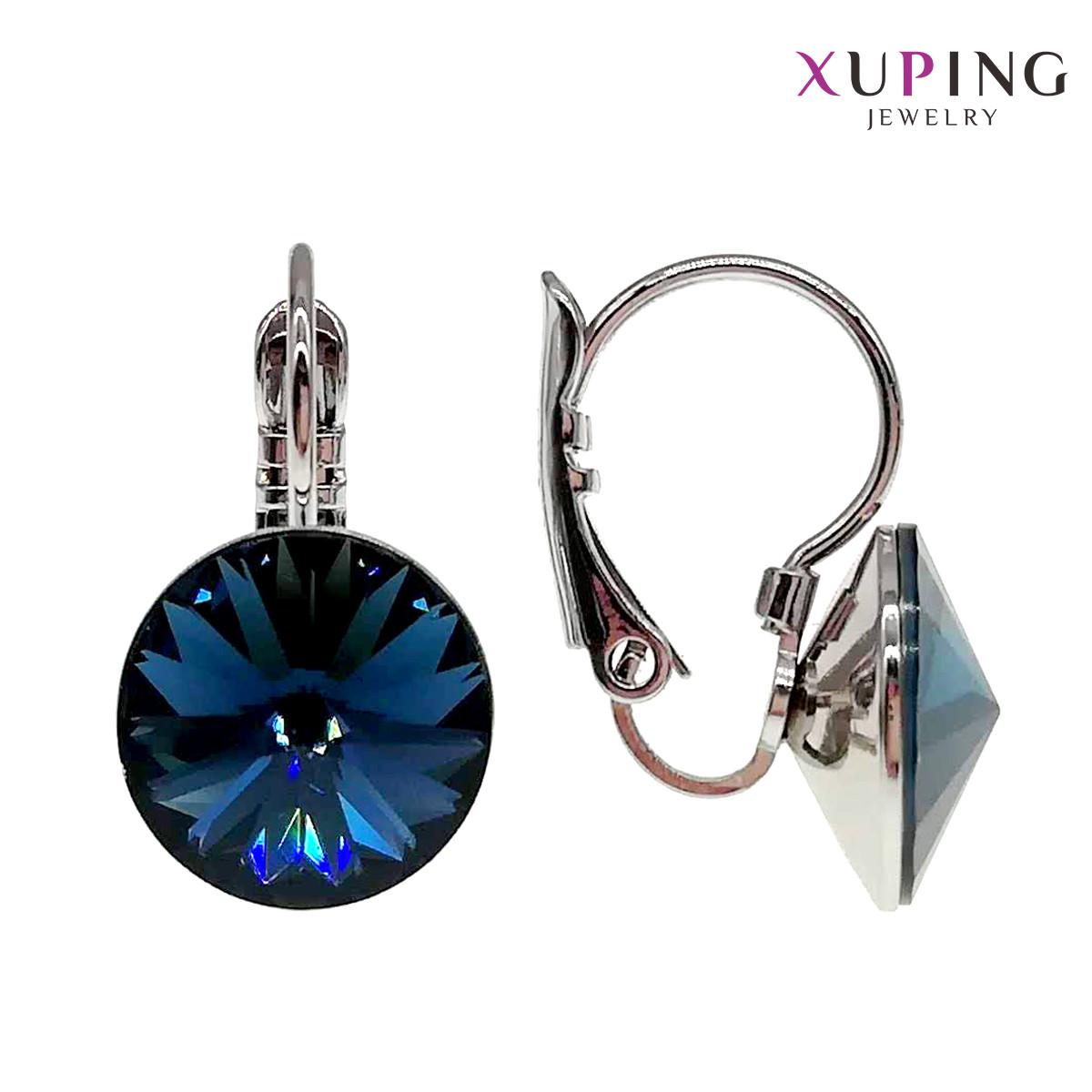 Сережки Xuping, розмір 18х11 мм, кристали Swarovski сапфірово-синього кольору, вагою 4 г, родій (біле золото),