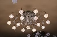 Люстра галогенная потолочная с подсветкой и пультом (модель 8030-15), золото