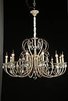 Люстра классическая 12-ламповая (модель 25017), карамель-золото