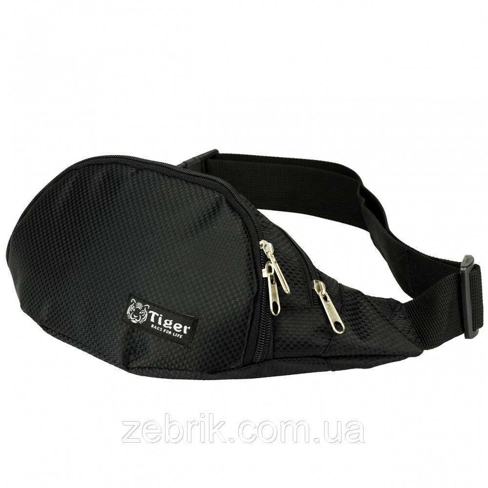 Бананка, сумка на пояс, сумка через плечо TIGER черная глянец