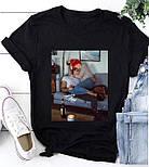 Жіноча стильна біла і чорна футболка з малюнком і написом (різні малюнки), фото 3