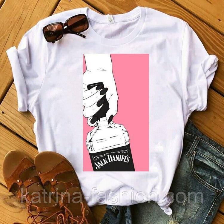 Жіноча стильна біла і чорна футболка з малюнком і написом (різні малюнки)