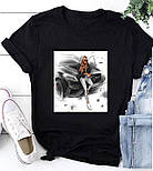 Жіноча стильна біла і чорна футболка з малюнком і написом (різні малюнки), фото 6