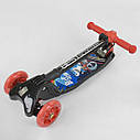 Самокат трехколесный черный Best Scooter складной руль с фарой светящиеся красные колеса деткам от 3 лет, фото 5