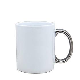 Чашка для сублимации белая с ручкой серебро 330 мл