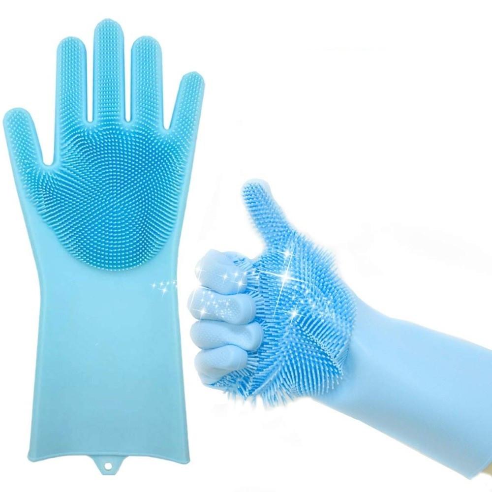 Универсальные резиновые перчатки для мытья посуды  MAGIC BRUSH (Реплика)