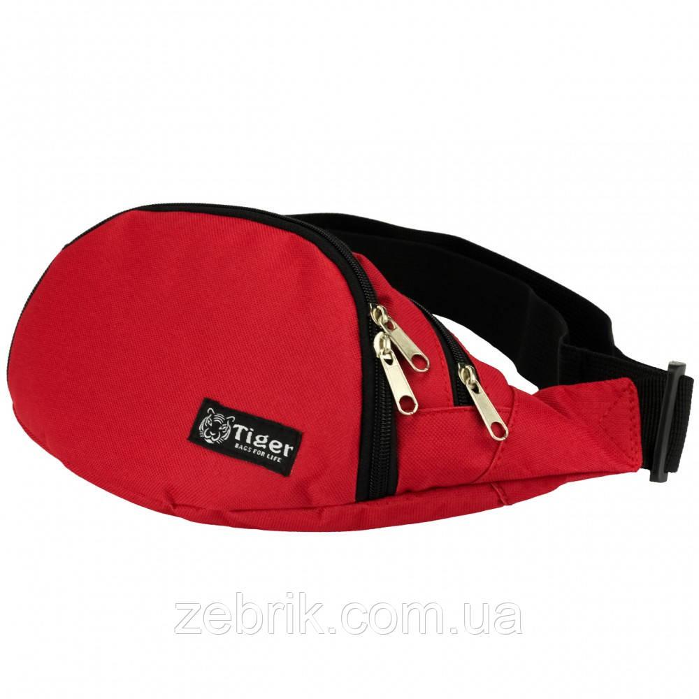 Бананка, сумка на пояс, сумка через плечо TIGER красный глянец