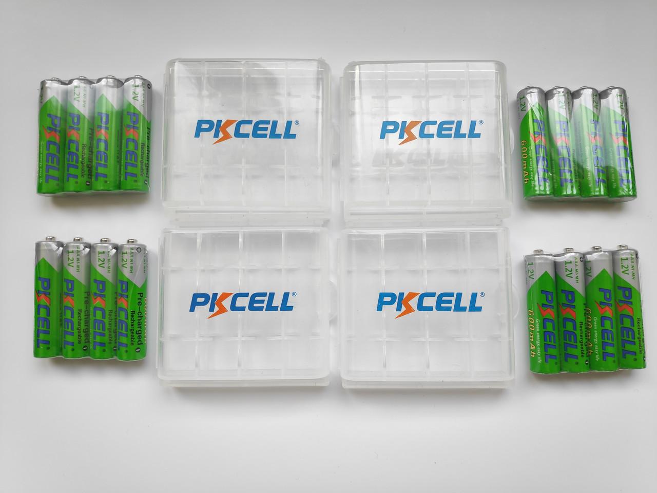 Аккумуляторы Pkcell Ni-Mh AAA 600mAh оригинал 16 шт. 4шт x 4 упаковки + BOX в подарок!!!
