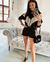 Женский стильный костюм: шорты и батник с капюшоном, фото 1