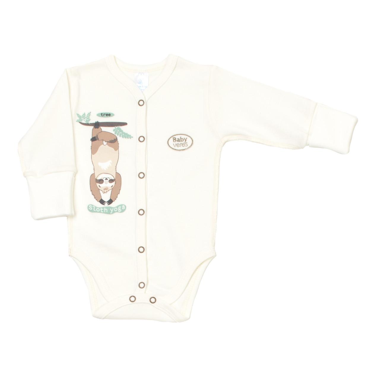 Боди для новорожденных Baby Veres Sloth yoga молочный рибана