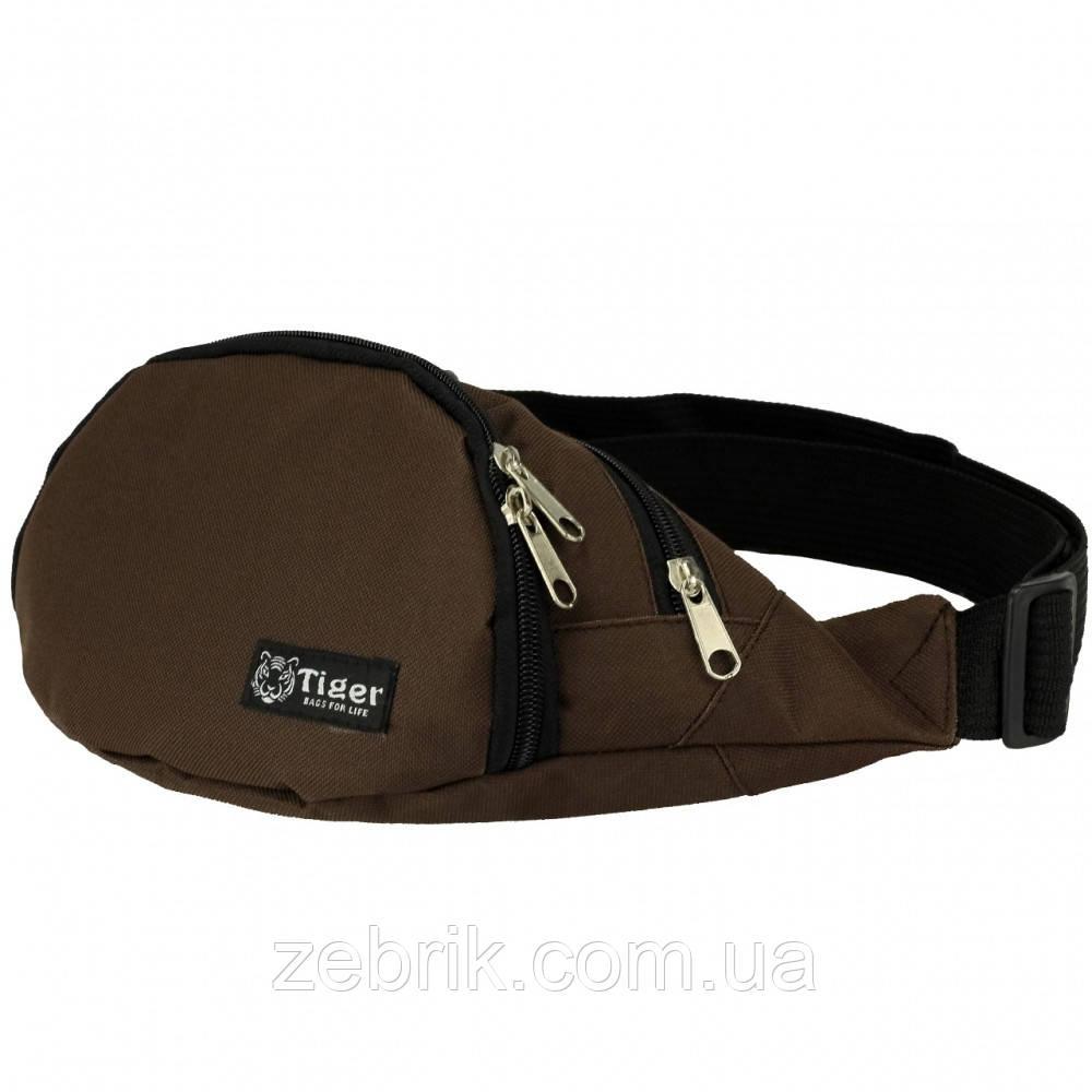 Бананка, сумка на пояс, сумка через плечо TIGER коричневый
