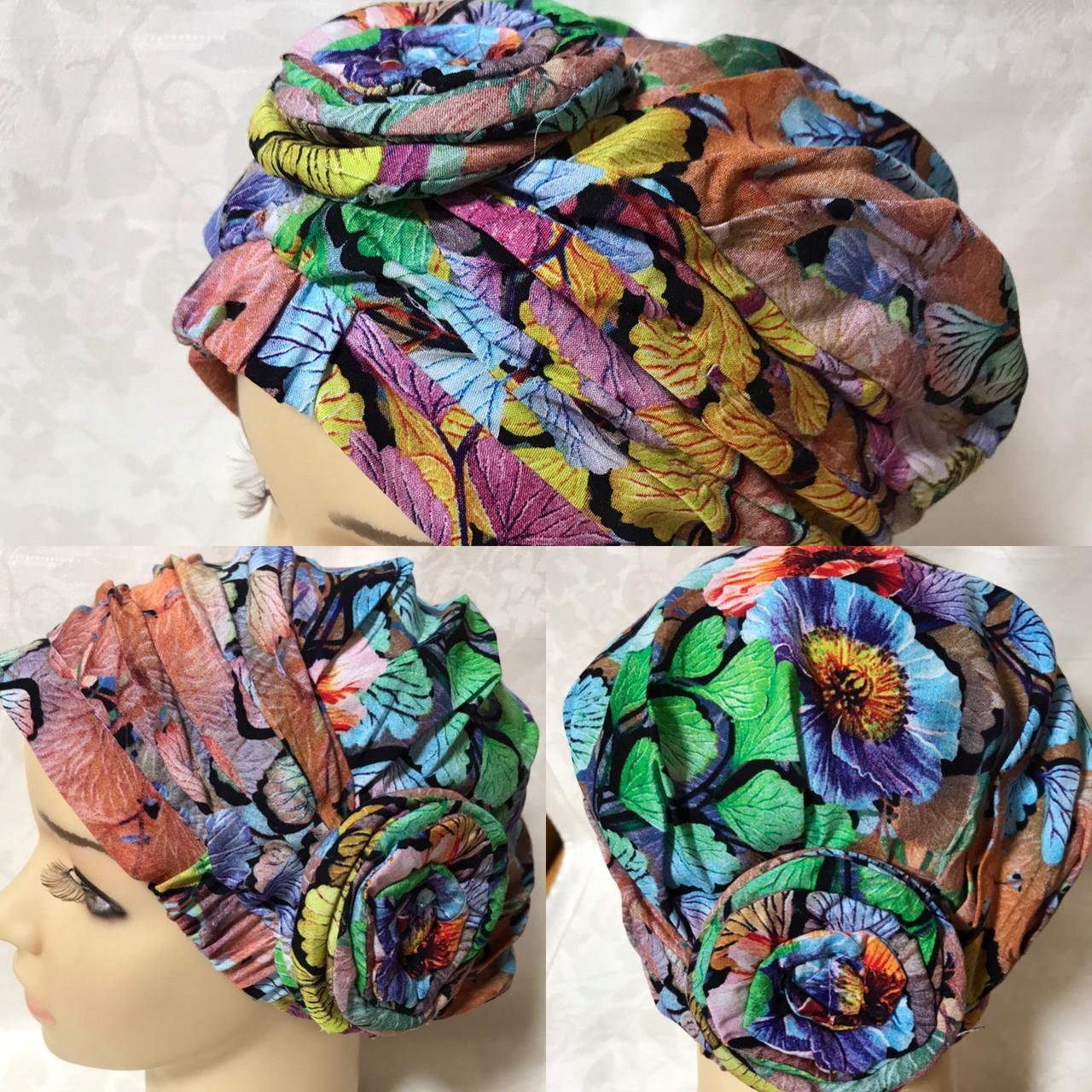 Летняя разноцветная   бандана-шапка-косынка-чалма-тюрбан с розочкой