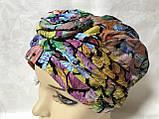 Летняя разноцветная   бандана-шапка-косынка-чалма-тюрбан с розочкой, фото 10