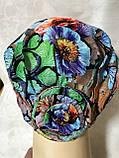 Летняя разноцветная   бандана-шапка-косынка-чалма-тюрбан с розочкой, фото 2