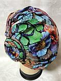 Летняя разноцветная   бандана-шапка-косынка-чалма-тюрбан с розочкой, фото 3