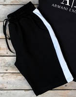 Мужские спортивные шорты черные в белую полоску