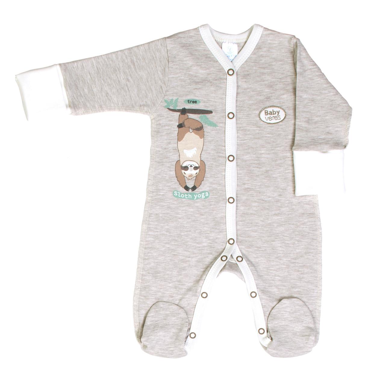 Комбинезон Baby Veres Sloth yoga молочный рибана