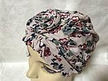 Летняя розовая   бандана-шапка-косынка-чалма-тюрбан с розочкой, фото 2