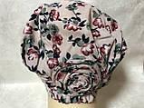 Летняя розовая   бандана-шапка-косынка-чалма-тюрбан с розочкой, фото 3