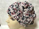 Летняя розовая   бандана-шапка-косынка-чалма-тюрбан с розочкой, фото 4