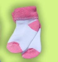 Шкарпетки для новонароджених махрові ARAL (колір білий/рожевий)