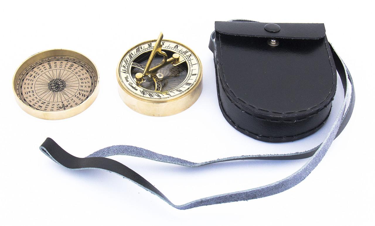 Компас з Сонячним годинником бронзовий в Шкіряному Чохлі
