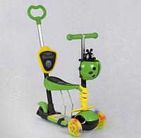 Самокат беговел 5 в 1 Best Scooter 28465 Божья Коровка, трехколесный, свет колес, желто-зеленый