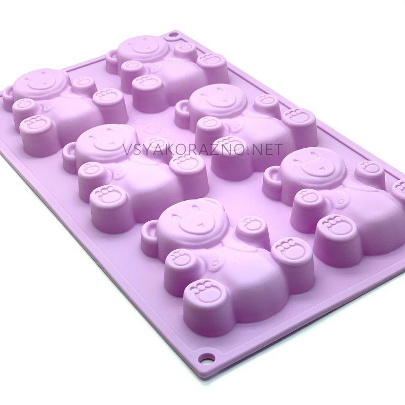 Силиконовая форма для выпечки в духовке Мишка Барни / Силіконова форма для випічки Ведмедик Барні (розовый)