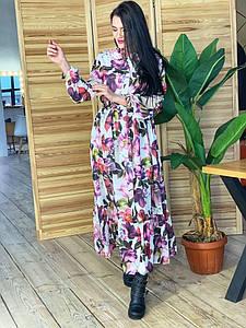 Шифоновое длинное платье с цветочным принтом 42-46 р