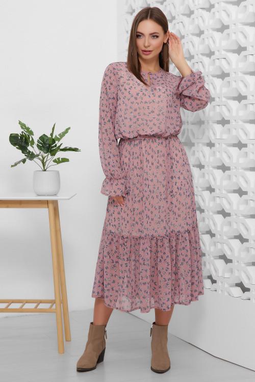 Легкое и воздушное шифоновое платье цвета сливы 42, 44, 48