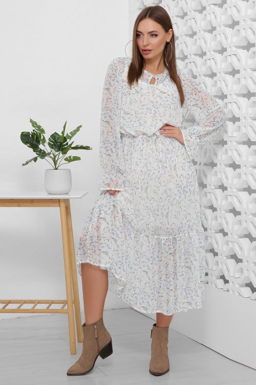 Легкое и воздушное шифоновое платье белое 44, 46