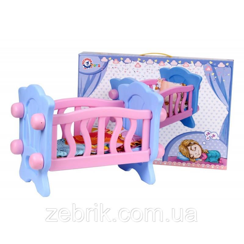 Ліжечко для ляльки / кровать для куклы в подарочной коробке Технок 4166