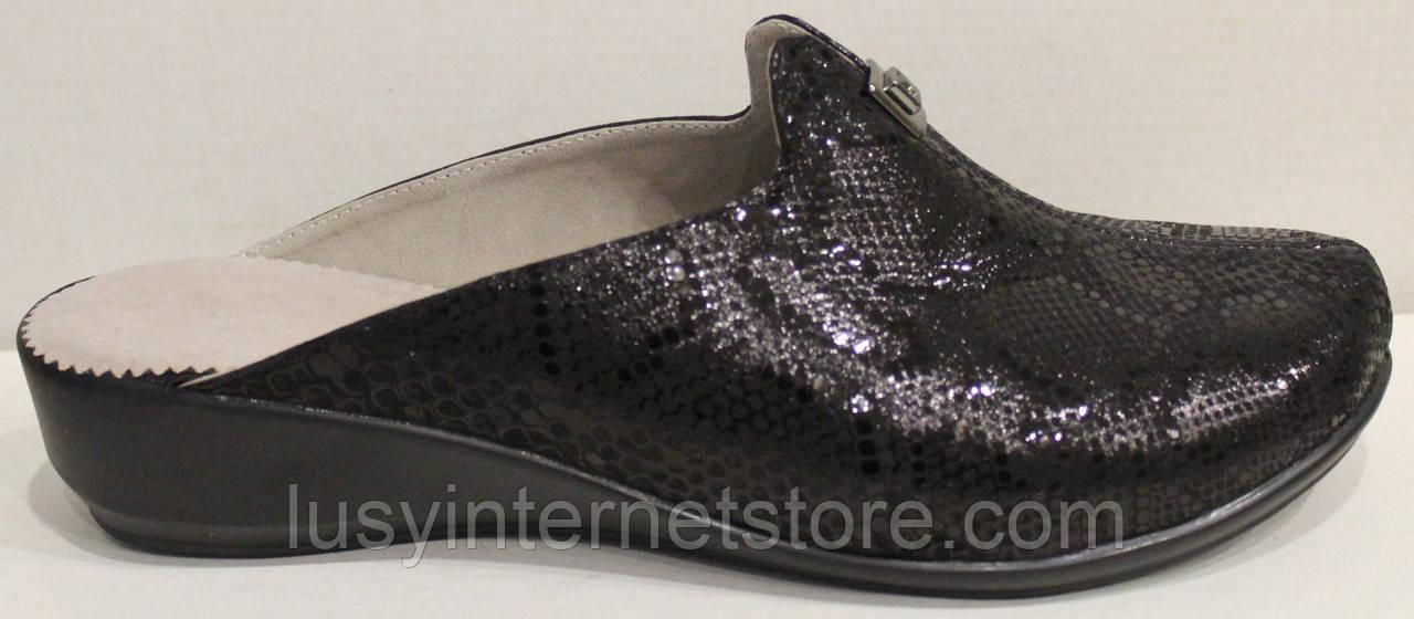 Сабо женские великаны кожаные черные от производителя модель МИ13337-3