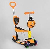 Самокат беговел 5 в 1 Best Scooter 92124 Божья Коровка, трехколесный, свет колес, оранжево-желтый