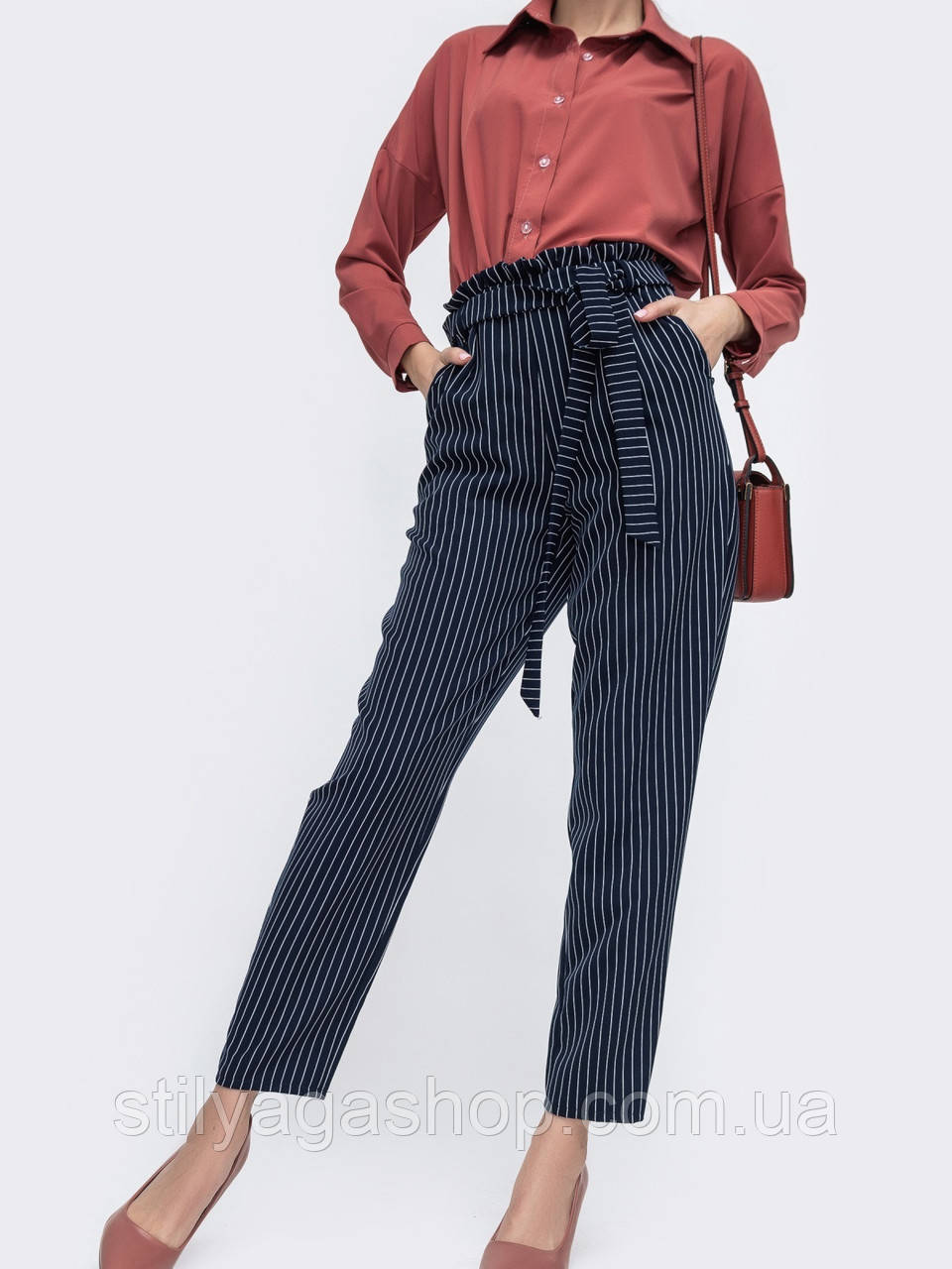 S,M,L Темно-синие брюки в полоску с высокой посадкой