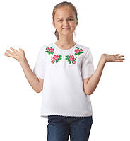 Вышитая детская футболка  (на рост от 122 см до 158 см)