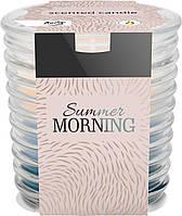 """Ароматическая трехцветная свеча в стекле BISPOL snw80-252 """"Летнее утро"""""""