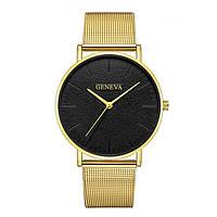 Женские часы Geneva Classic steel watch золотые с черным, наручные кварцевые часы Женева