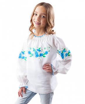 Біла лляна вишиванка для дівчинки (розміри 98-158)